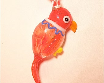 20% OFF SALE --- Red Lampwork Parrot and Ribbon Necklace