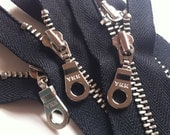 YKK metal zippers with silver nickel teeth and donut style pull- (5) pieces - Black 580- Available in 4, 5, 6, 7, 8, 9,10,12, or 14 inches