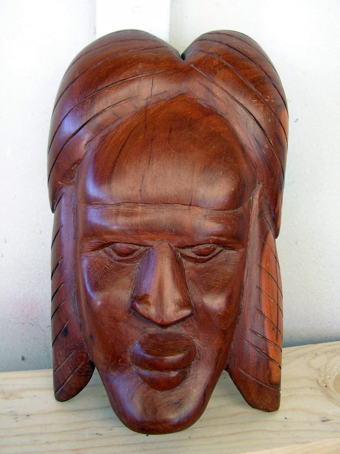 Vintage tribal face mask balinese african wood carving wall