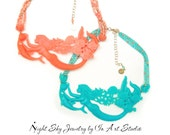 Turquoise or Coral Mermaid Necklace with Dolphin Mermaid Jewelry Colors of 2014