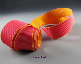 """5/8"""" and 1.25""""  HAT BAND Ribbon Coral and Gold Reversible Grosgrain WHOLESALE"""