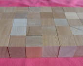 "40 unfinished 1"" size wooden blocks for DIY projects, wood, all natural,set, lot, alphebet, cube"