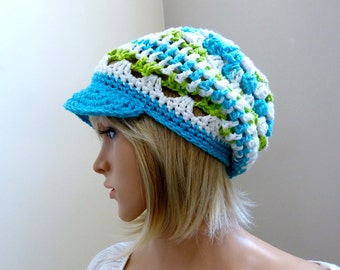 Rockin Reggae Brimster - In Roving Blues, Green  and Whites - 100 percent Cotton Yarns