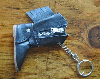 Leather Boot Keychain / 1980s