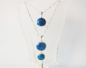 Layered Marbleized teal blue drop necklaces