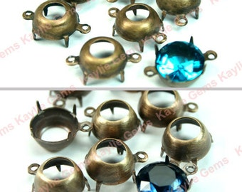 10mm Round Oxidized Antique Brass Open Back Prong Settings 1 Ring / 2 Ring - 6pcs