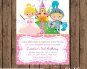 Custom Printed Blonde Princess and Knight Birthday Invitations - 1.00 each with envelope