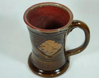 Crusader 14 oz mug in Brown  Red Sale Handmade Pottery