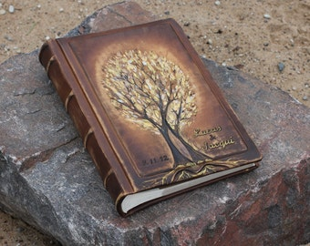 Personalized Leather Wedding album 13 x 9  with two gold Trees of Life for 300 photos