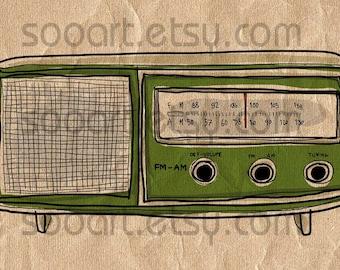 green radio vintage  -Digital Image Sheet -Original Illustrate Drawing  A4 Print transfer on Pillows, t-shirts, scrapbook, lampshades  ETC.v