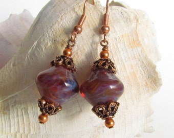 Boro Lampwork Earrings, Pinks and Purples Copper Accents, Handmade by Harleypaws, SRAJD