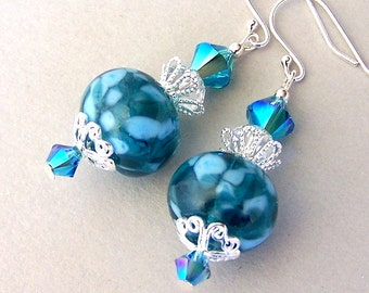 Teal earrings, lampwork glass, Swarovski Indicolite crystal elements with sterling silver