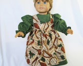 18 Inch Doll Clothes Long Sleeve Dress with Pinafore Green Christmas Fabric Musical Instruments Music Print OOAK One of a Kind Outfit