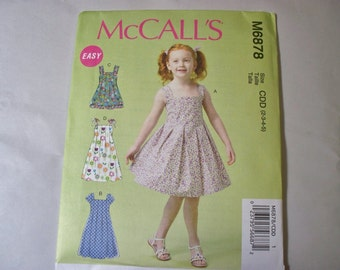 New McCall's, Girl's Dress  Pattern, M6878, CDD (2-3-4-5) (Free US Shipping)