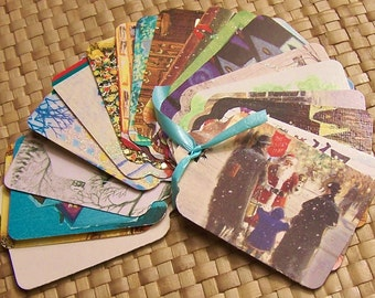 Upcycled Holiday Gift Tags - Traditional Christmas Scenes