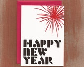 Red Fireworks Happy New Year Cards (10/box)