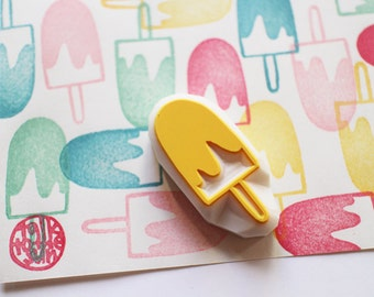 ice cream stamp. icen candy hand carved rubber stamp. popsicle stamp. summer holiday crafts. birthday scrapbooking. party gift wrapping