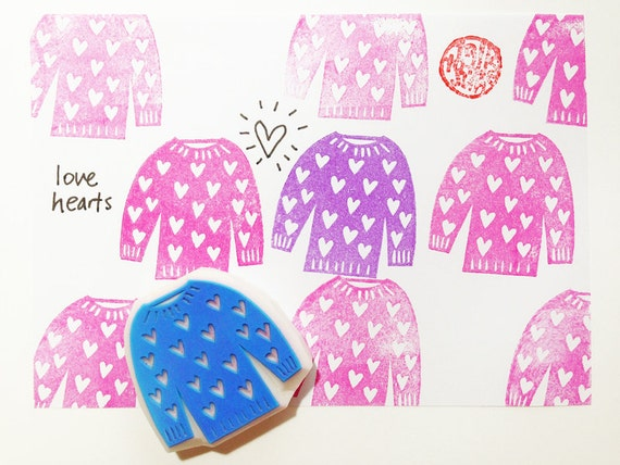love heart sweater stamp.  knitted sweater hand carved rubber stamp. knitting and crocheting stamp. valentine's day birthday scrapbooking