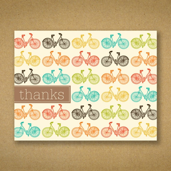 Thank You Cards - Fun Pop Hued Bicycles on Cream - Nancy