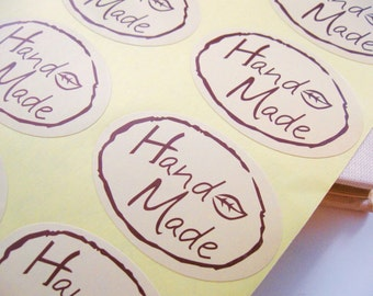 Handmade tags - Set of 30 stickers label - Beige paper adhesive oval tags (XS102)