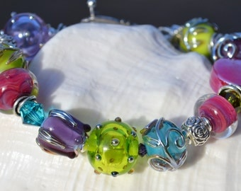 GARDEN PARTY-Handmade Lampwork and Sterling Silver Bracelet
