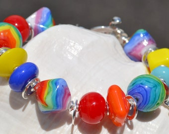 SEVENTIES-Handmade Lampwork and Sterling Silver Bracelet