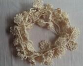 Handmade Crochet Trim Embellishment, Ecru Floral Lace