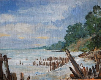 Overcast Morning in Michigan Original Oil Painting