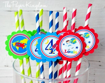 Astronaut  Paper Straws, Outer Space Astronaut Birthday Party, Personalized Straws
