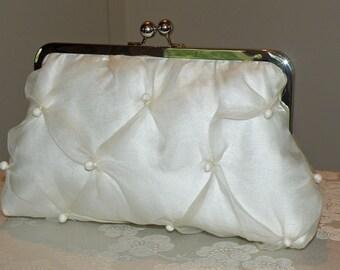 Silk Organza Pearls Clutch/Purse/Bag..Something Bridal Blue..Ivory/Black..Hands Free Wrap..Party..Wedding Gift..Free Monogram.Ready To Ship