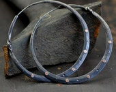 dark silver hoops with rose gold rivets, 14k gold and dark silver hoop earrings large, with a twist