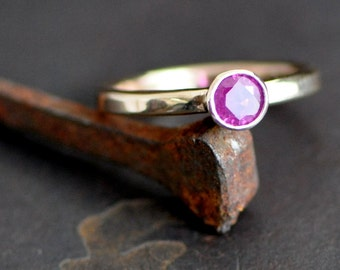 ruby ring, 14k gold ring with faceted ruby,  July Birthstone, Alternative engagement size 4.5