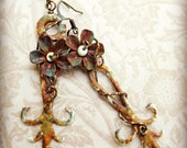 Found object jewelry, clock hand earrings, rusty enameled metal, verdigris patina, steampunk