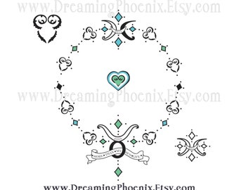 Custom Gothic Renaissance Astrology Tattoo Design