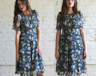 secret garden -- vintage 70's Chiffon Japanese Floral Dress XS/S