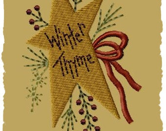 Prim Winter Wreath (Star)- Machine Embroidery Design~Version 1-(4x4)-INSTANT DOWNLOAD