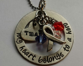 JBK Custom hand stamped My Heart Belongs to a Hero necklace