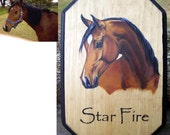 Custom Horse Plaque Sign Stall Marker Equine Portrait Painting Hand Painted