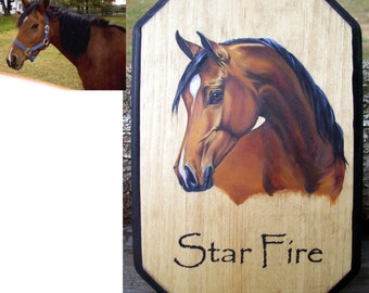 Custom Horse Plaque Sign Stall Marker Equine Oil Portrait Painting Hand Painted