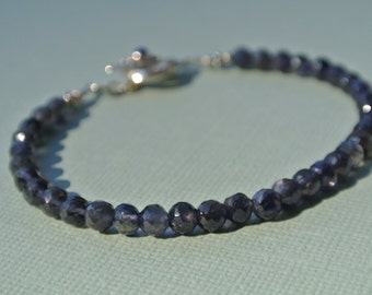 Blue/Purple Iolite Bracelet- Sterling Silver Toggle