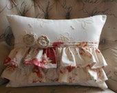 Ruffled Cottage Style Lumbar Decorative Pillow and Fabric Rosettes, Norfolk Rose Fabric with Form, 12 X 16 inches