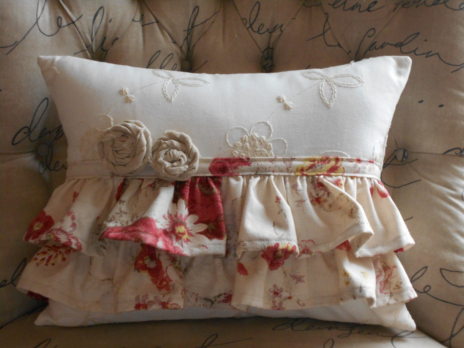 Shabby Chic Lumbar Pillows : Ruffled Cottage Style Lumbar Decorative Pillow and Fabric