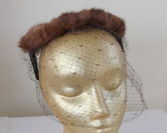 Brown Rabbit Fur Birdcage Hat
