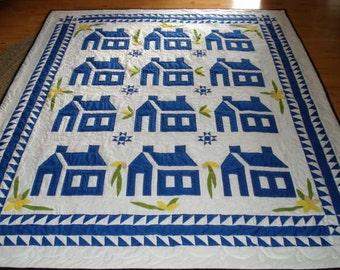 Blue House Quilt Hand Applique Bedding
