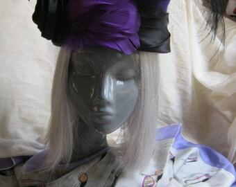 Vintage fun purple wool woman's hat, purple hat black trim black feathers, purple woman's hat Michael Howard hat