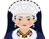 Miao Chinese Matryoshka Art Print, Kids Wall Art
