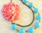 Statement Necklace Bridesmaid Jewelry Coral Necklace Flower Necklace Turquoise Jewelry Bib Necklace