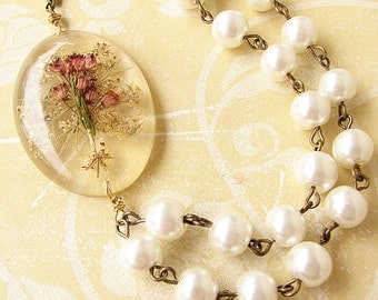 Real Flower Jewelry Real Flower Necklace Bridesmaid Jewelry Wedding Necklace Statement Necklace Holiday Gift Pressed Flower Pendant