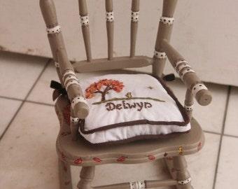 Custom Doll Rocking Chair AND CUSHION custom painted and custom cushion for chair