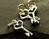 3 pcs, Sterling Silver Tiny Heart Key Charms, 925 Sterling Charms,  17x6x1mm